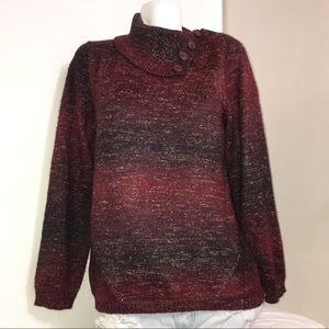 Maroon to Black Ombré Mock Neck Pullover Sweater